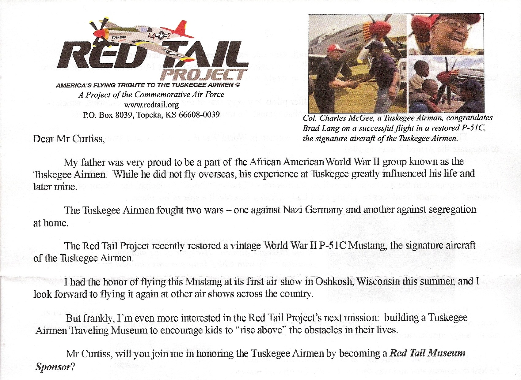 Red Tail Project letter