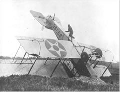 "Wreck of Curtiss JN-4H ""Jenny"" airmail plane"